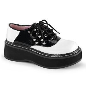 Shoes - Platform Gothic Saddle Lace Up Spike Shoes Studs